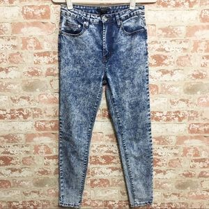 High Rise Acid Wash Skinny Jeans